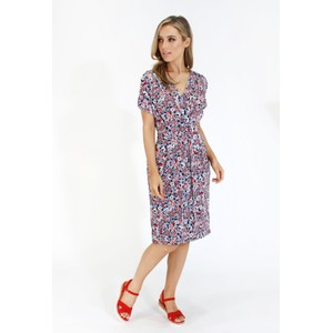 a71ce6d5efc Zapara Navy and red ditsy floral v neck dress