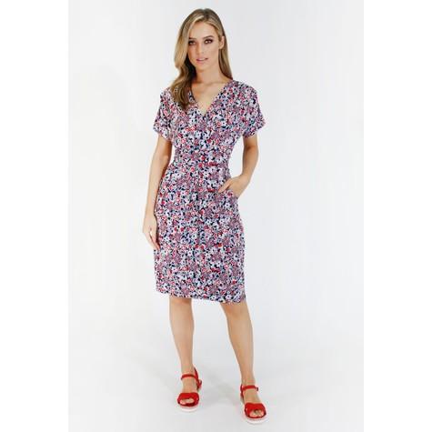 Zapara Navy and red ditsy floral v neck dress