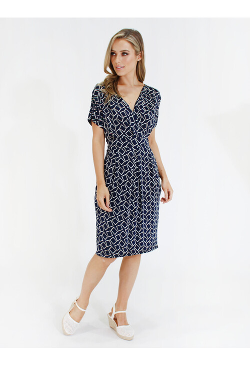 Zapara Navy geometric print v neck dress