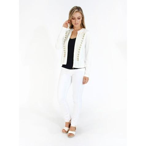 Zapara Off White Military Style Zip Up Jacket