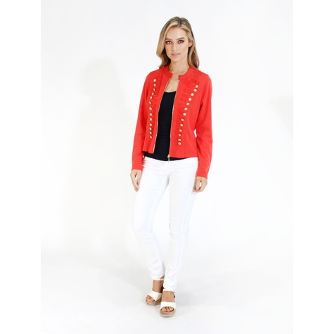 Zapara Coral Military Style Zip Up Jacket