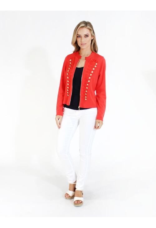 Zapara Coral Military Style Zip Up Jacket
