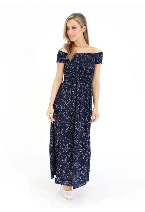 Pamela Scott Navy Slim Front White Polka Print Dress