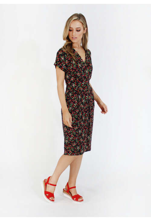 Zapara Black with red ditsy floral v neck dress