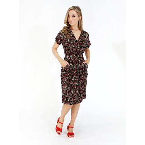 Zapara Black with red ditsy floral v neck dress