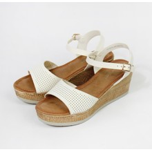 Pamela Scott White Wedges with Cork Effect Soles