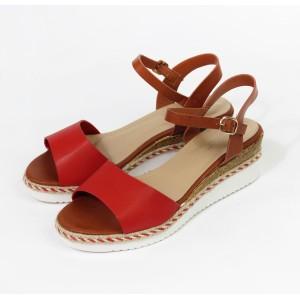 Pamela Scott Red Strap Wedge Sandal