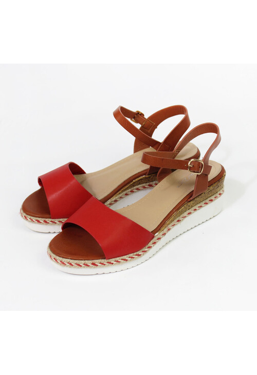 Pamela Scott Red Strap Wedge Sandal