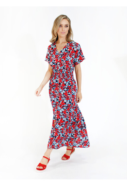 Zapara Abstract Floral Print Smocked Waist Dress