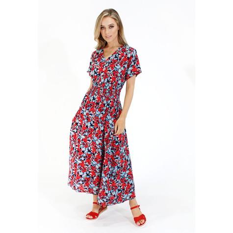 Zapara Abstract Floral Print Smocked Waist Dress