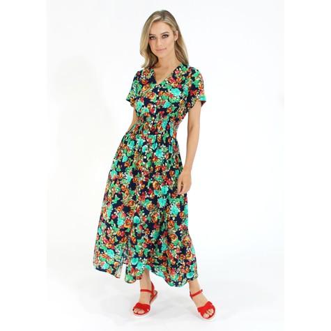 Zapara Floral Print Smocked Waist Dress