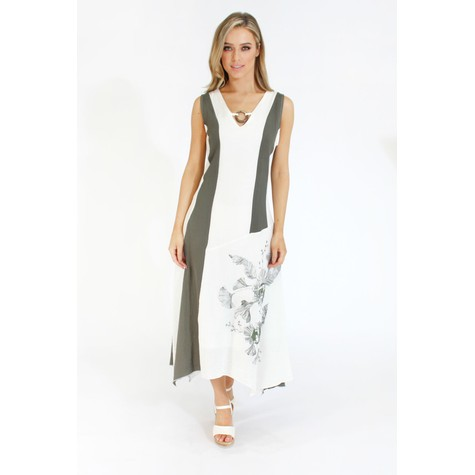 SophieB Linen A-line Dress with Ring Detail