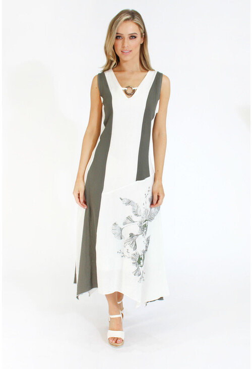Sophie B Linen A-line Dress with Ring Detail