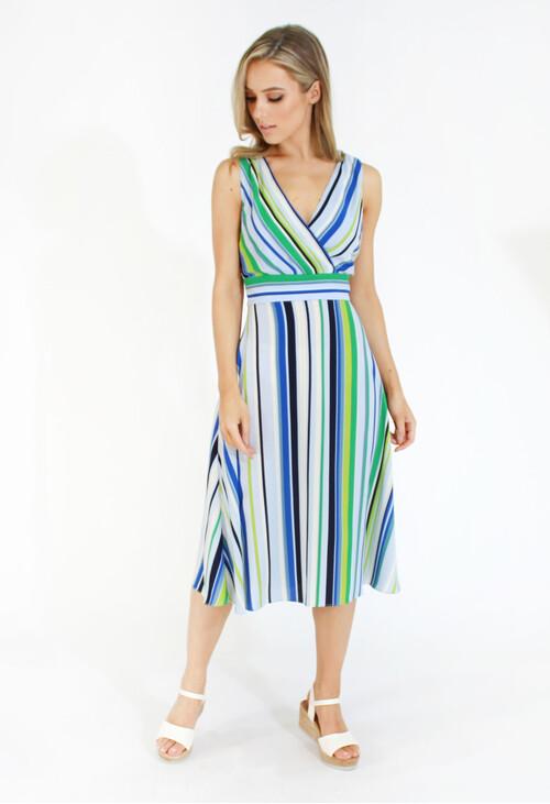 London Times Stripe A-Line Lightweight Dress