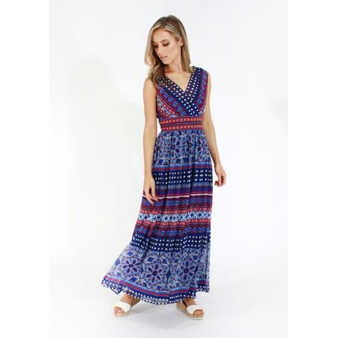 London Times Sleeveless Double Layer Maxi Dress