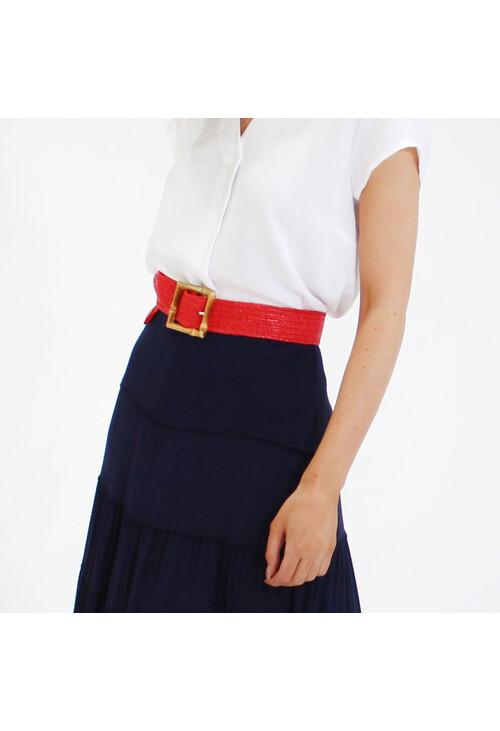 Pamela Scott Red Belt with Bamboo Effect Buckle