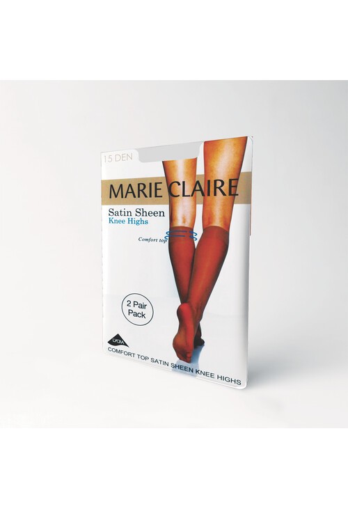Marie Claire Satin Sheen Knee Highs 2 pack