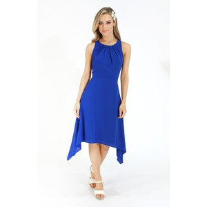 London Times Pleat Detail Blue Dress