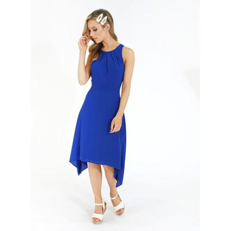London Times Pleat Detail Blue Dress