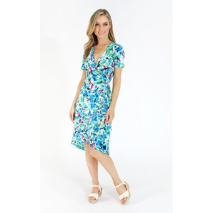 London Times Floral Wrap Dress with Ruffle Detail