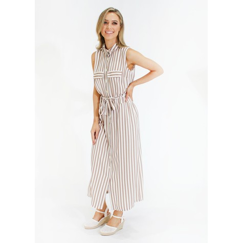 SophieB Stripe tie waist shirt dress