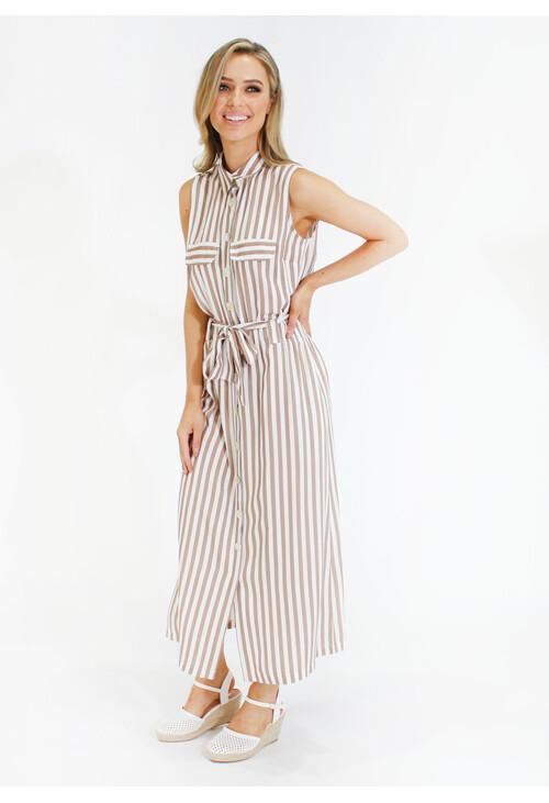 Sophie B Stripe tie waist shirt dress