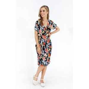 Zapara Floral print v neck dress with pockets