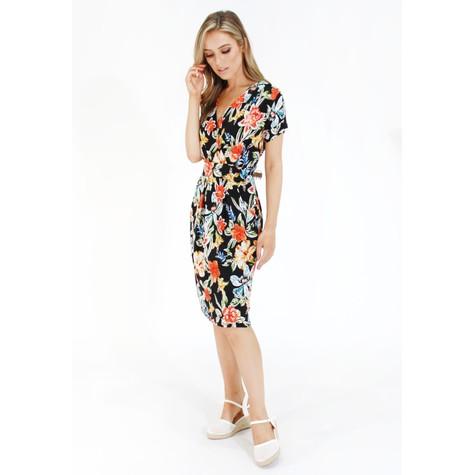 Zapara Floral print v neck dress with pockets