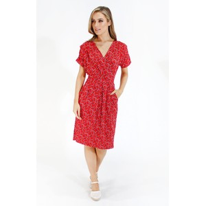 Zapara Red geometric print v neck dress
