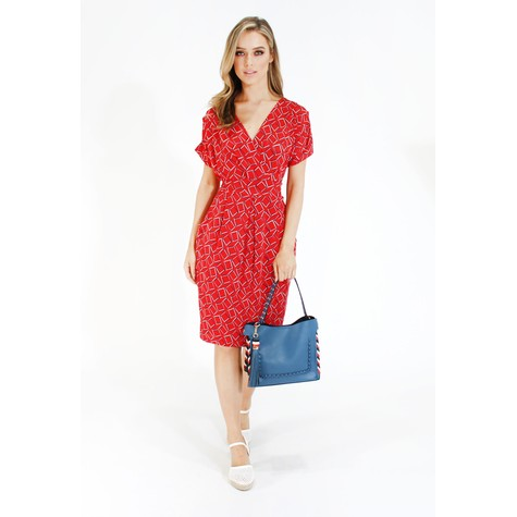 Zapara Red geometric print v neck dress