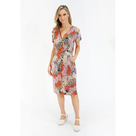 Zapara Tropical print v neck dress