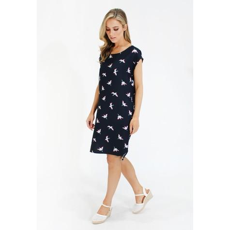 Zapara Navy bird print tunic dress
