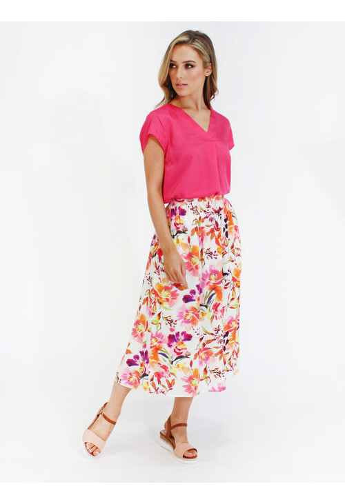 Twist Floral print midi skirt