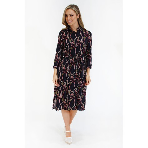 Zapara Navy chain print button through dress