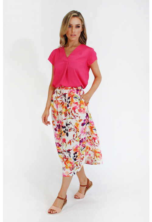 Zapara pleat front hot pink top