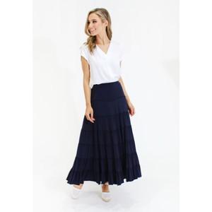 Zapara Navy peasant style maxi skirt