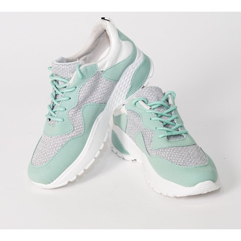 Pamela Scott Green & Grey Lace Up Trainers