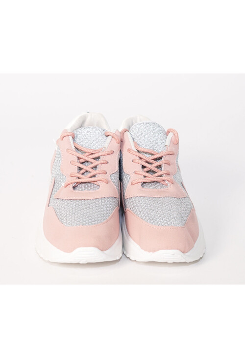 Pamela Scott Pink & Grey Lace Up Trainers