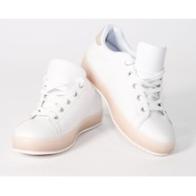 Pamela Scott White & Beige Sole Trainers