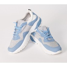 Pamela Scott Blue & Grey Lace Up Trainers