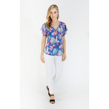 Zapara Printed Flutter Sleeve Top with Ring Detail