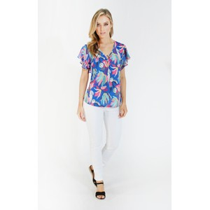 6505dceb56f611 Zapara Printed Flutter Sleeve Top with Ring Detail