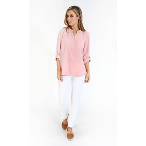 Twist Pink Roll Up Sleeve Shirt