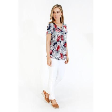 Twist Red & Navy Floral Print Top
