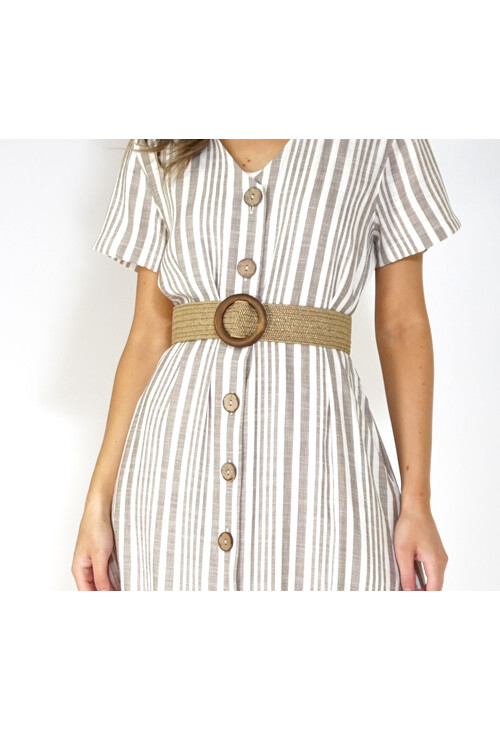 Pamela Scott Tan Straw Belt