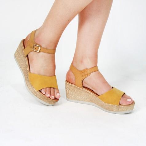 Pamela Scott Mustard Wedge Sandals