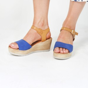 Pamela Scott Blue & Beige Strap Wedge Sandals