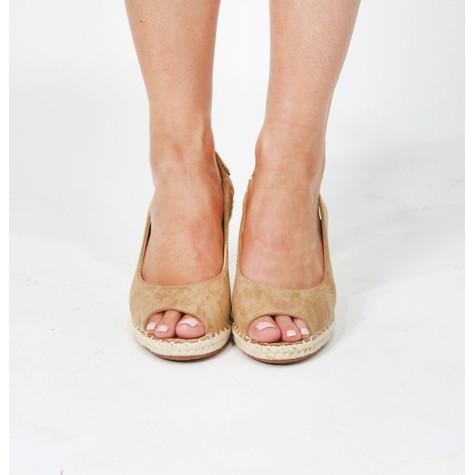 Pamela Scott Khaki Espadrille Wedge Sandals