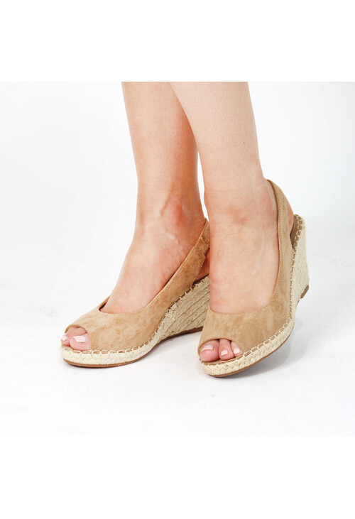 Pamela Scott Khaki Espadrille Wedge Sandals