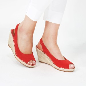 Pamela Scott Red Espadrille Wedge Sandals